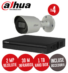 Sistem complet DVR 4 canale, 4 camere 2MP, IR 30 metri, Starlight  + accesorii -  KIT160