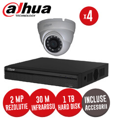 Sistem complet DVR 4 canale, 4 camere 2MP, IR 30 metri, Starlight  + accesorii -  KIT161