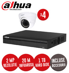 Sistem complet DVR 4 canale, 4 camere 2MP, Interior, IR 20m Dahua, HDD 1TB + accesorii - KIT105