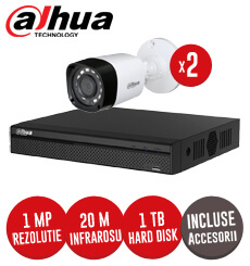 Sistem complet DVR 4 canale, 2 camere 1 MP Dahua, exterior, incluse accesorii, cablu -  KIT90