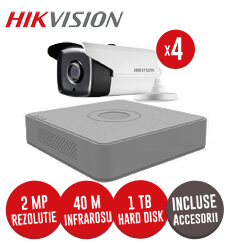 Sistem complet DVR 4 canale, 4 camere 2MP Hikvision, IR 40m, HDD 1TB + accesorii -  KIT117