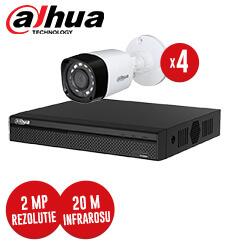 Pachet DVR 4 canale + 4 camere 2 MP, IR 20 metri, exterior, Dahua, fara accesorii -  KIT66